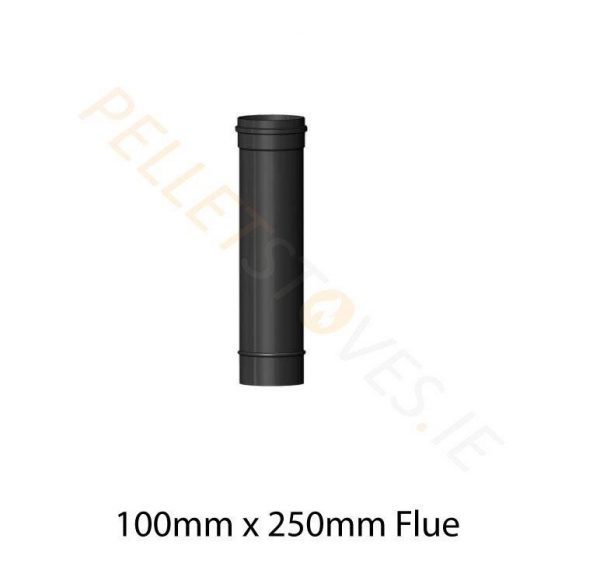 250mm Matt Black Vitreous Enamel Flue Pipe - 100mm