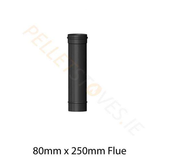 250mm Matt Black Vitreous Enamel Flue Pipe - 80mm
