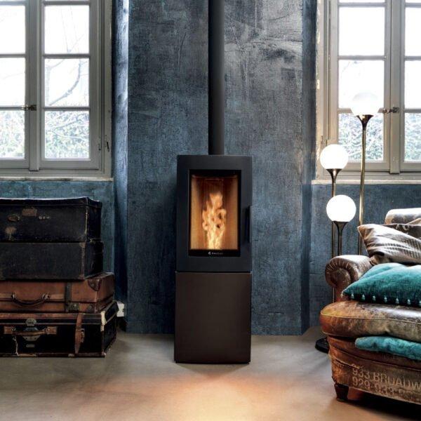 Alfa-S natural convection wood pellet stove